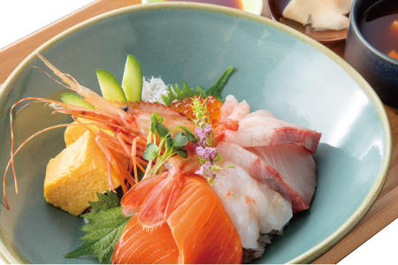 Bowl of rice topped with sashimi