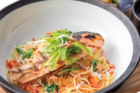 Grilled salmon and whitefish with Japanese style shrimp pasta